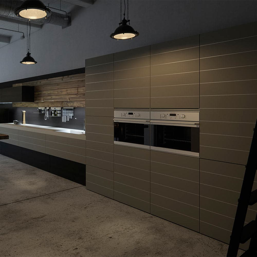 Originality with lines and combination of different materials to create a unique kitchen