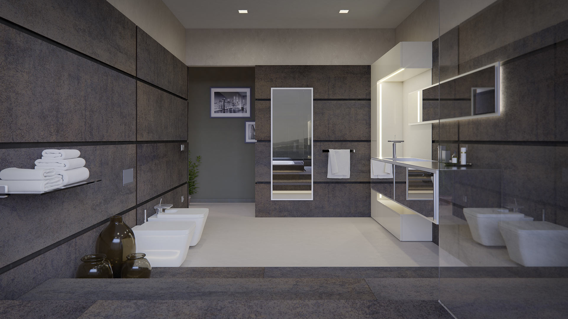 diseño de hogar senssiaOriginality with lines and combination of different materials to create a unique bathroom