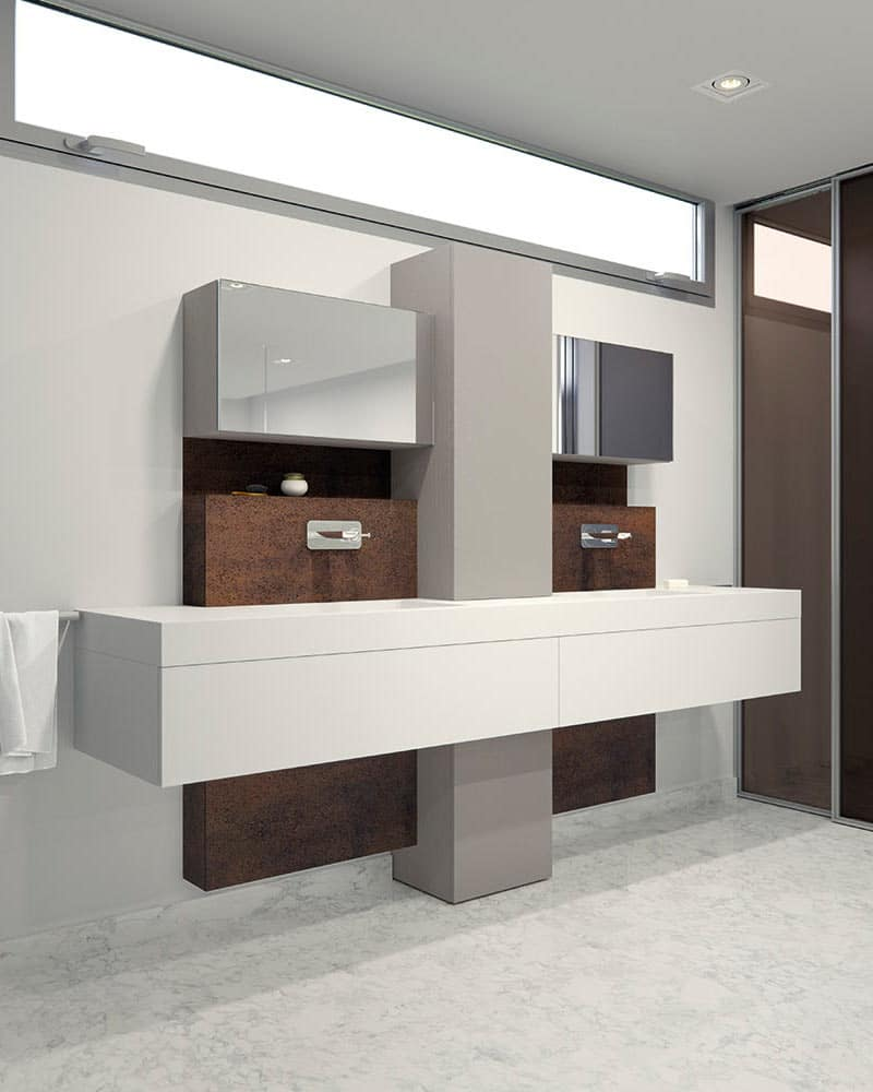 Originality with lines and combination of different materials to create a unique bathroom