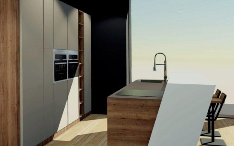 Entorno virtual de cocina en blanco y madera